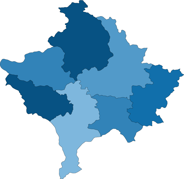Kosovo districts map blank