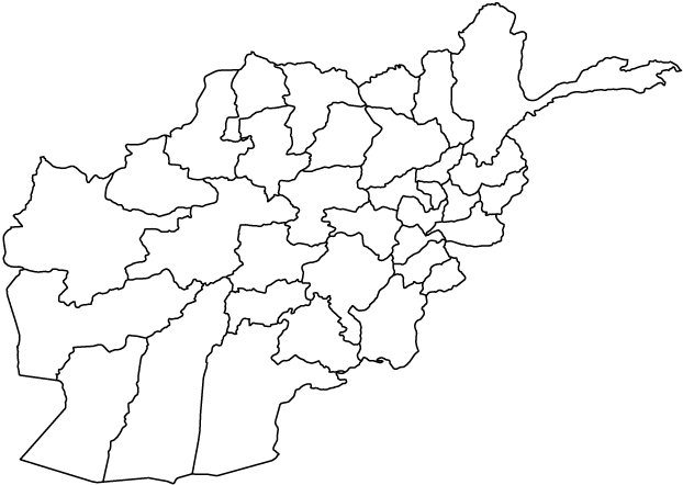 Afghanistan map outline showing administrative boundaries
