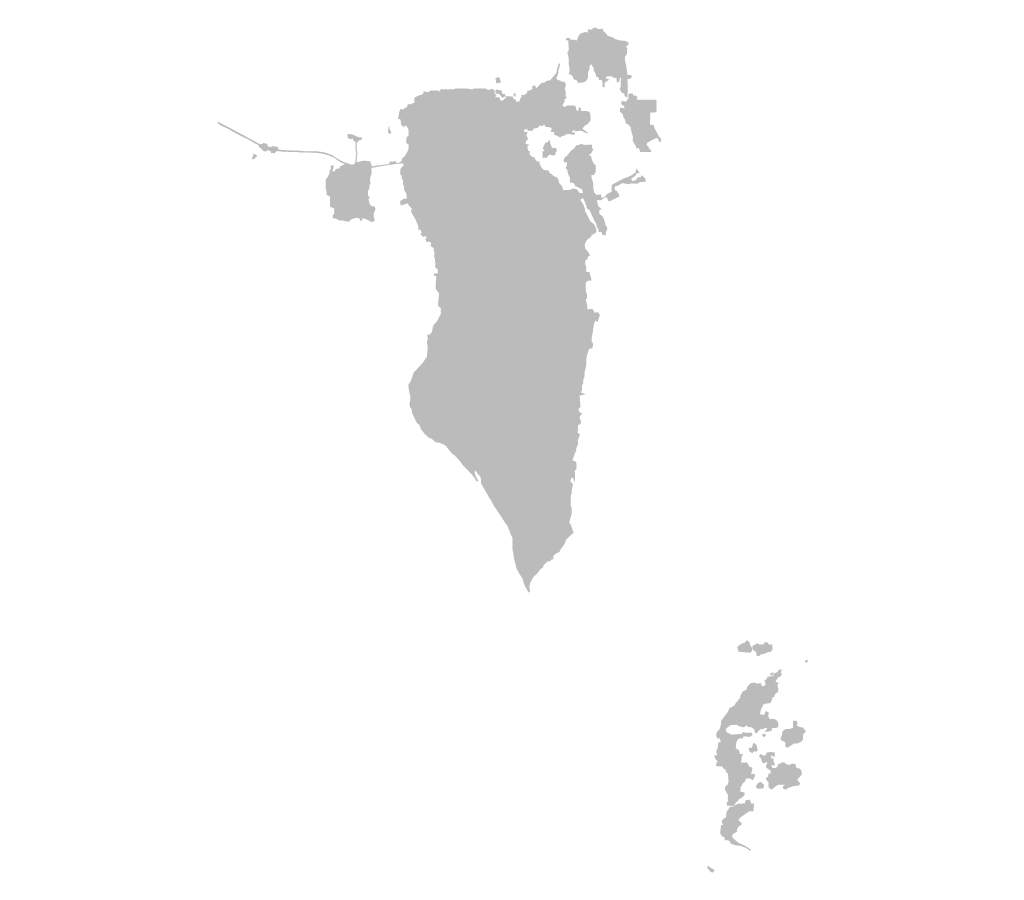 Blank map of Bahrain without administrative boundaries