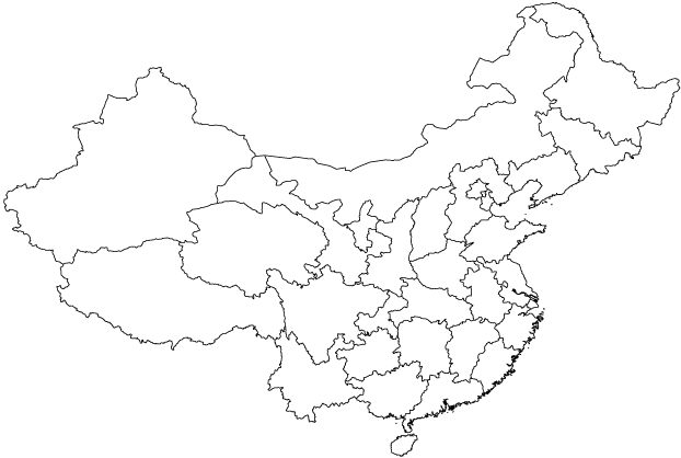 China map outline showing provinces
