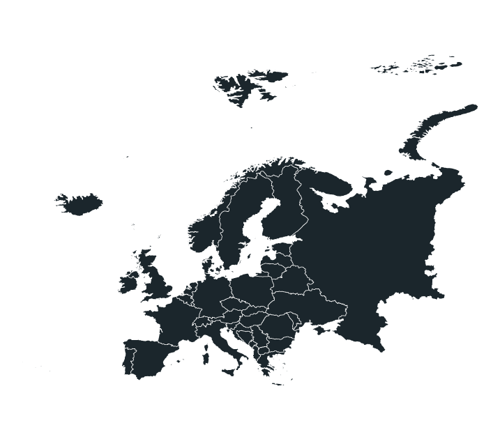 Black and white map of Europe