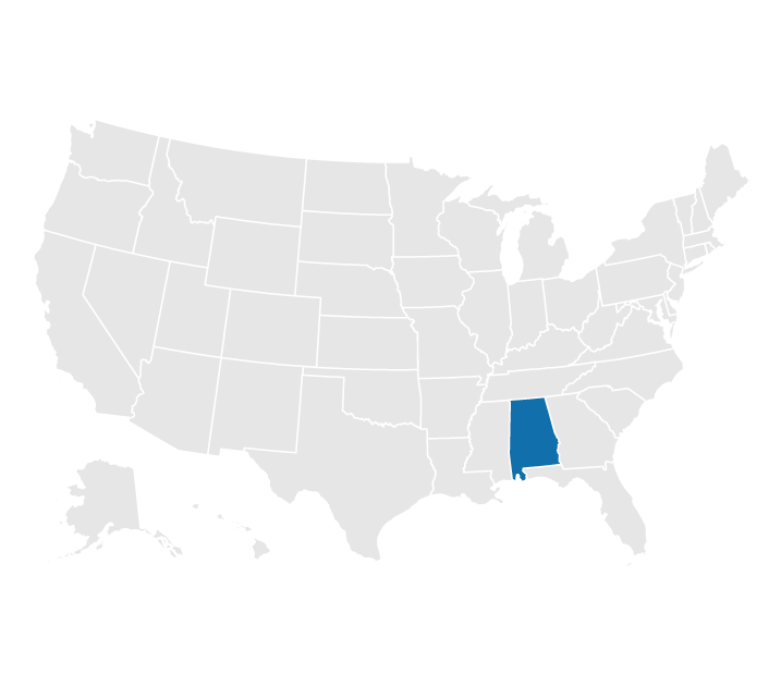 Location of Alabama on the map