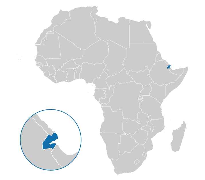 The location of Djibouti on the map of Africa