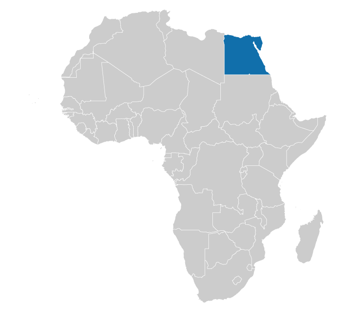 Location of Egypt on the map of Africa