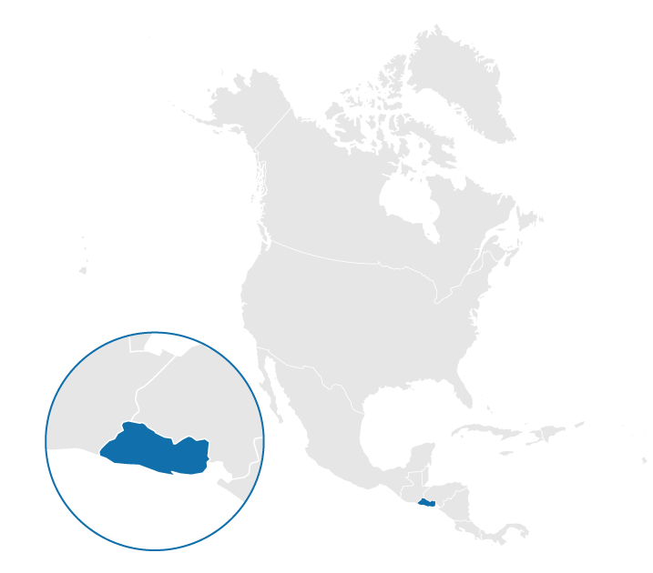 El Salvador on the map of North America