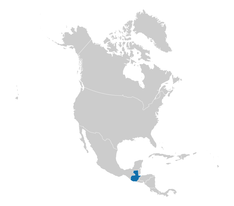Location of Guatemala on the map of North America
