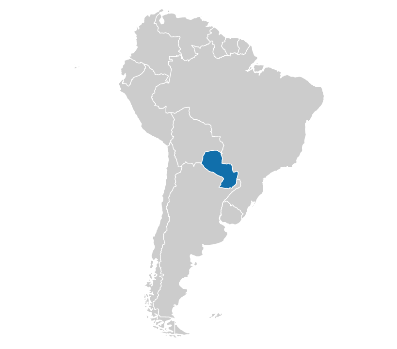 Paraguay on the map of South America