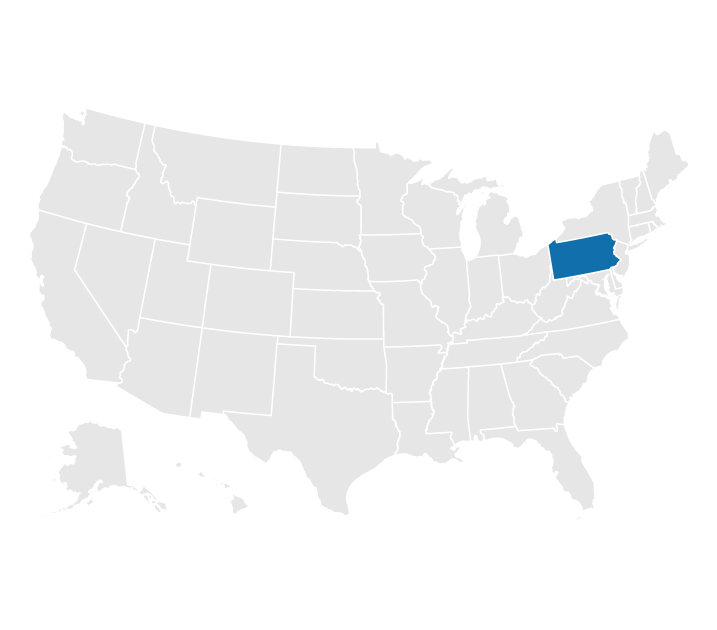 Pennsylvania on a map of the US