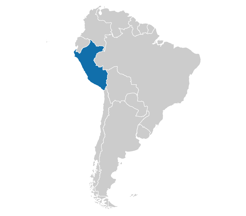 Peru on the map of South America