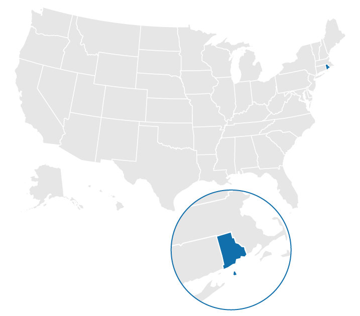 Location of Rhode Island on the US map