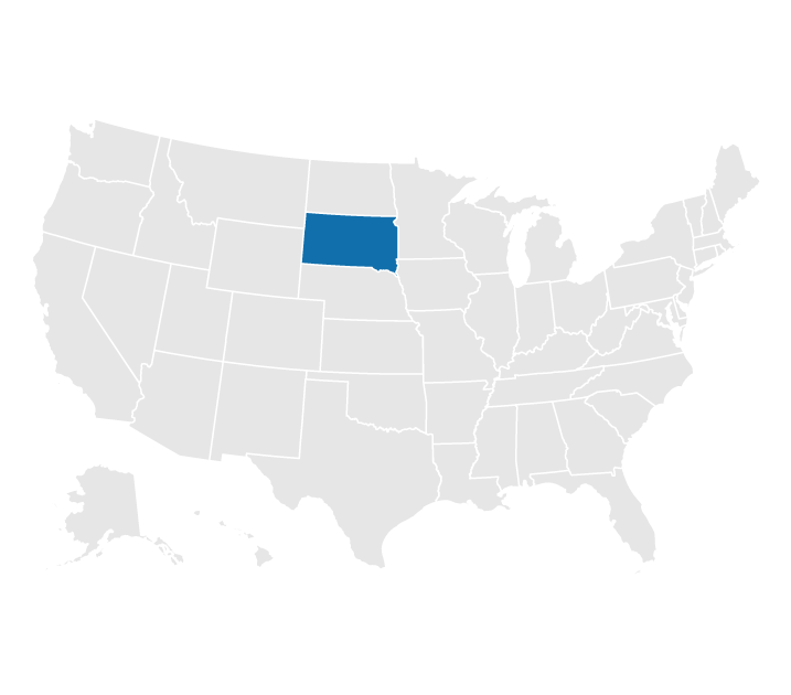 Location of South Dakota on the US map