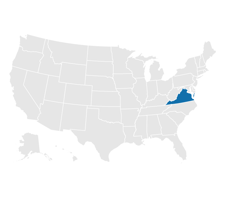 Location of Virginia on the US map