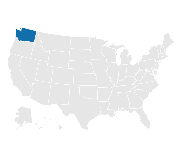 Location of Washington State on the US map
