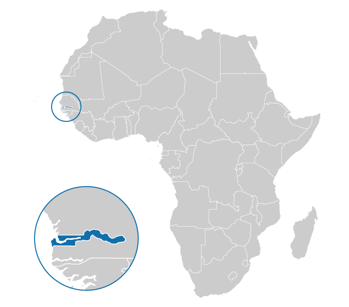 Location of Gambia on the map of Africa