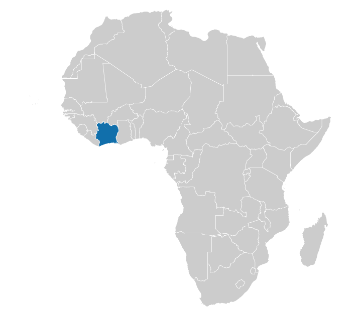 Location of Ivory Coast on the map of Africa