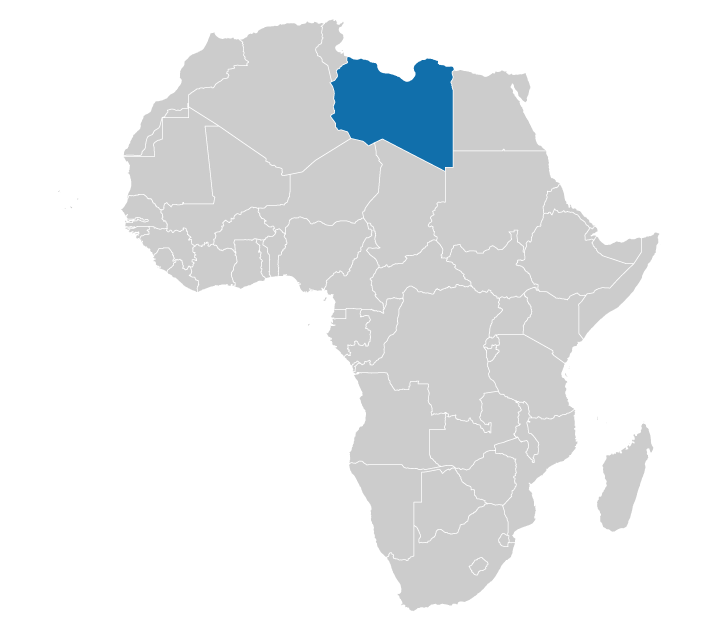 The location of Libya on a map