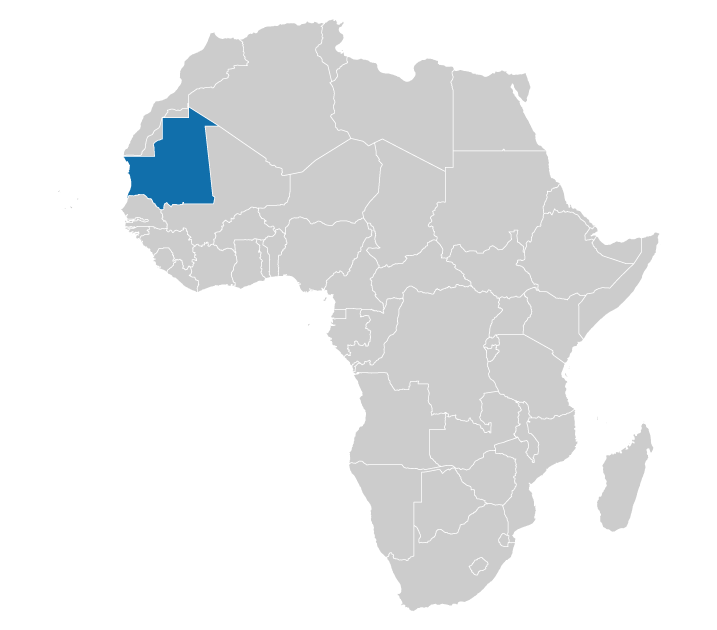 Location of Mauritania on the map of Africa