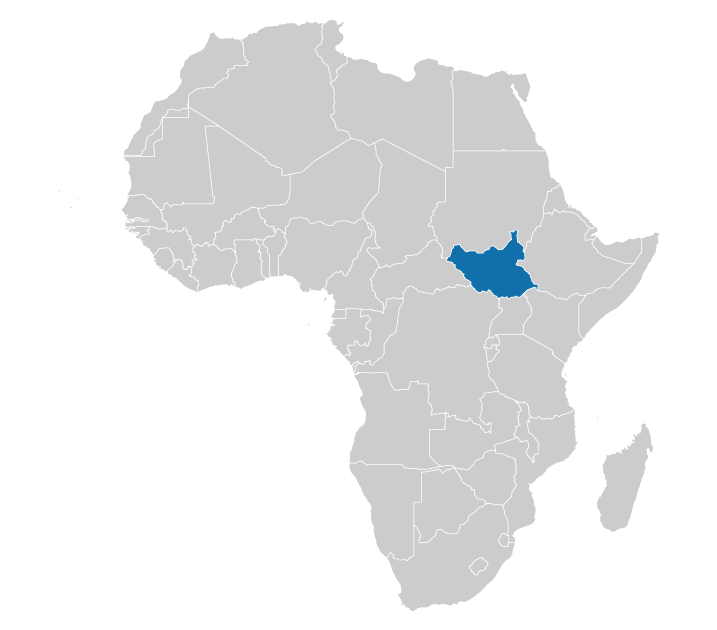 Location of South Sudan on the map of Africa