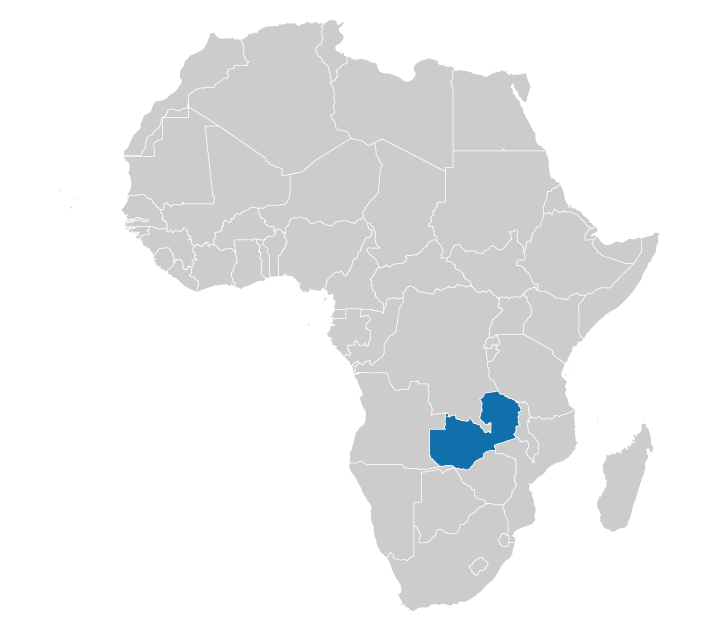 Zambia on the map of Africa