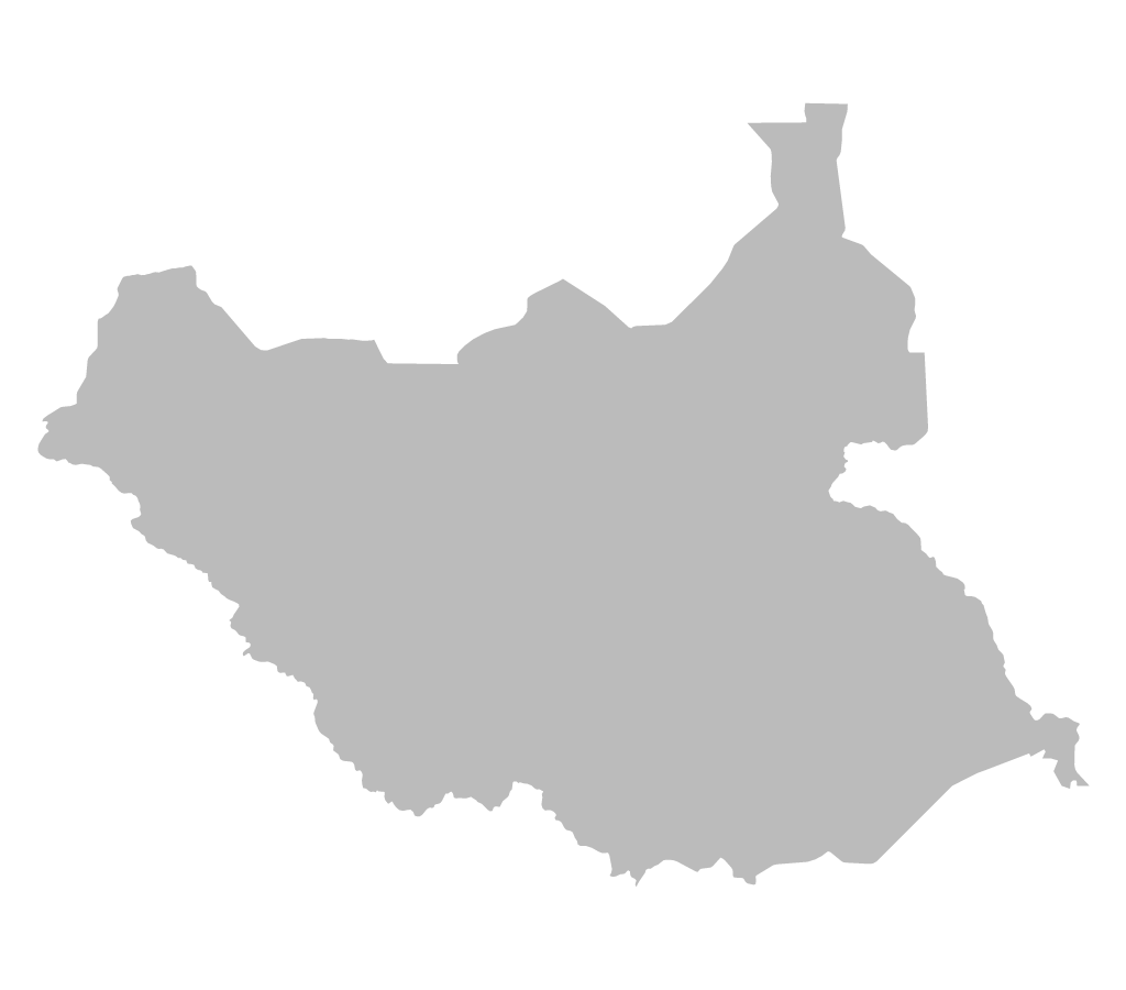 Blank map of South Sudan without internal borders