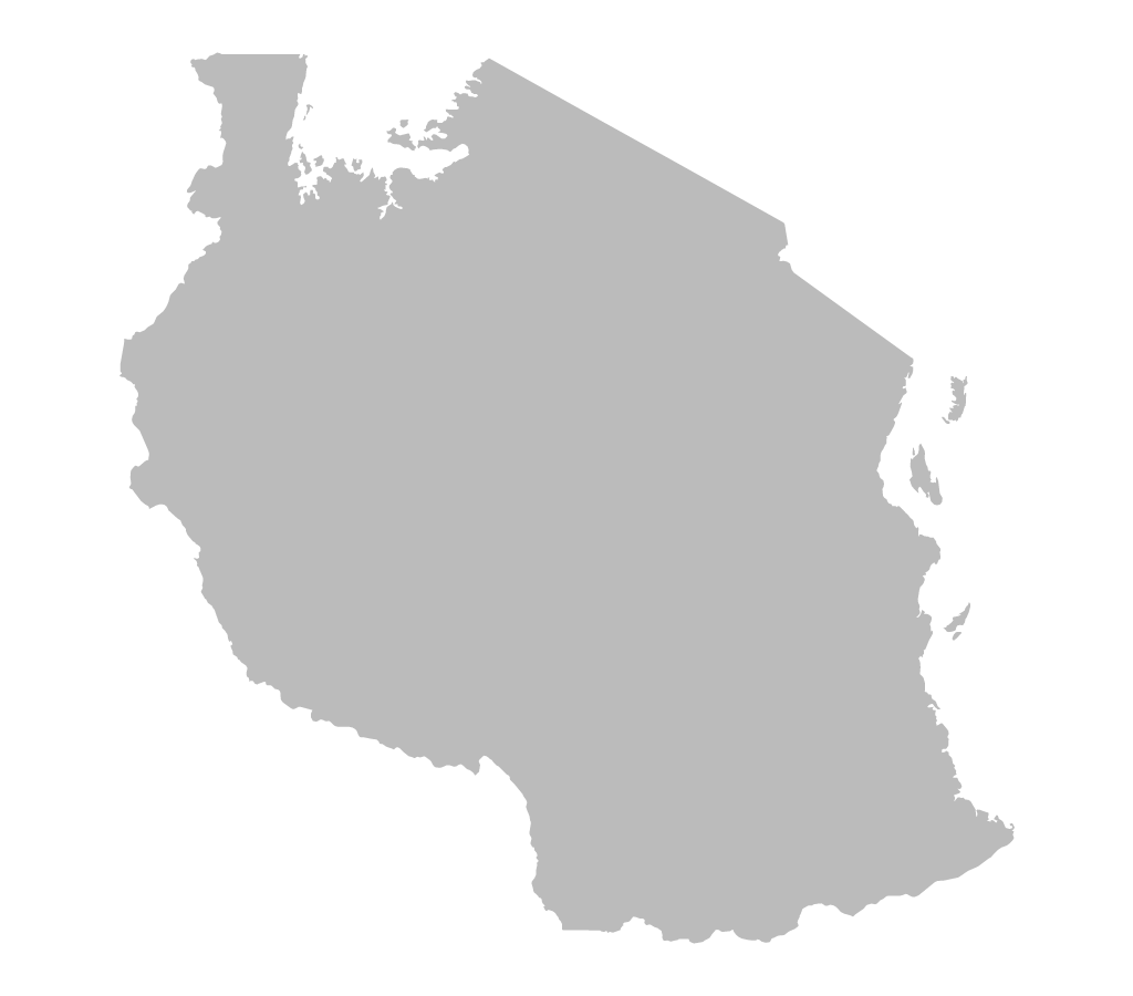 Blank map of Tanzania without borders