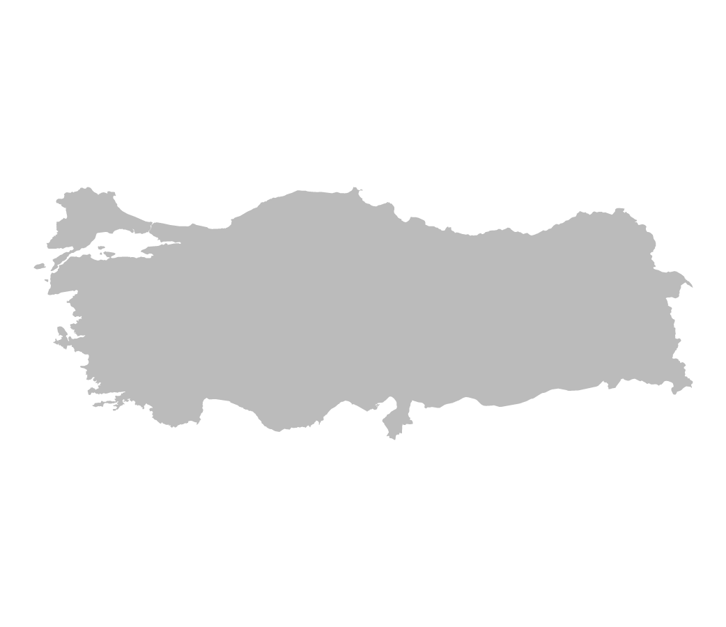 Blank map of Turkey without internal borders