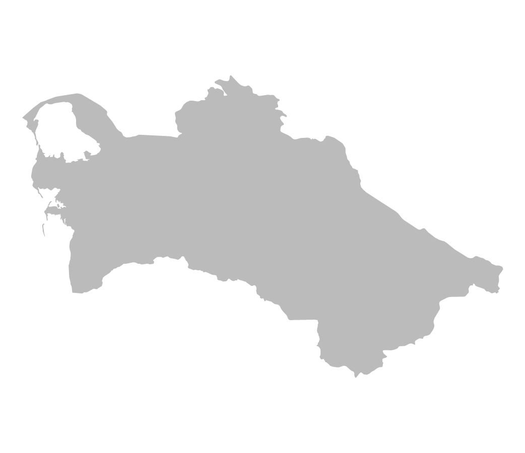 Blank map of Turkmenistan without borders