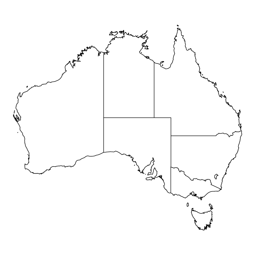 Outline map of Australia showing states