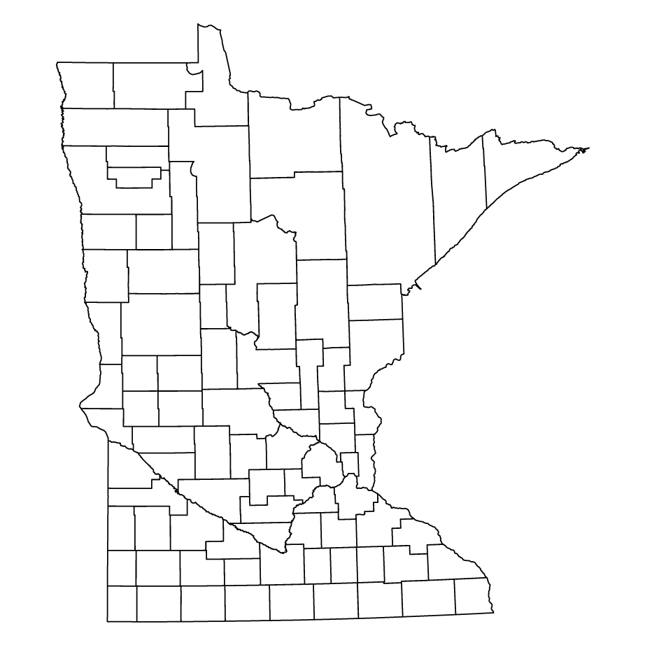 Minnesota outline map showing counties