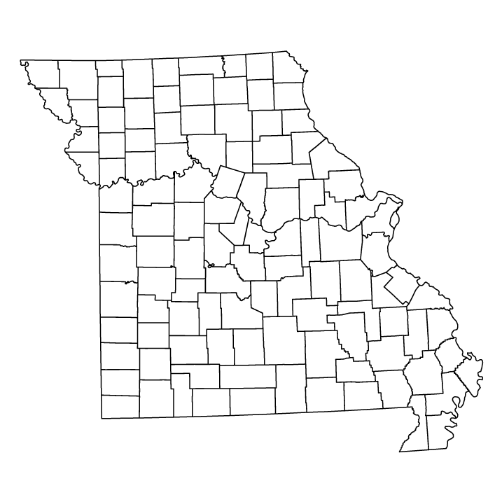 Missouri outline map showing counties