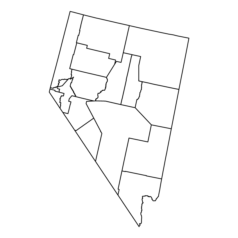 Nevada outline map showing counties