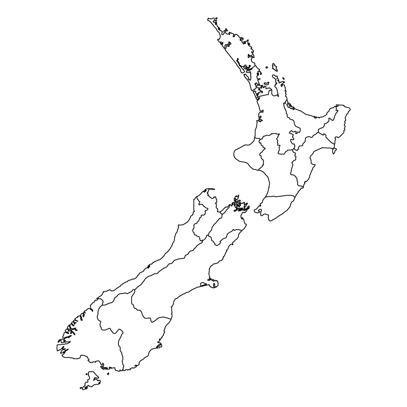 New Zealand map outline with administrative regions