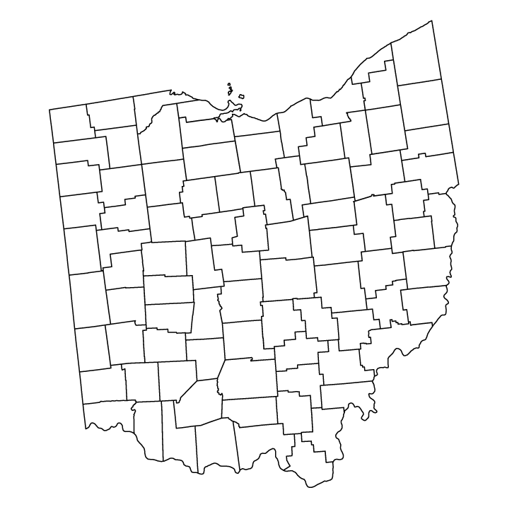 Ohio outline map showing counties