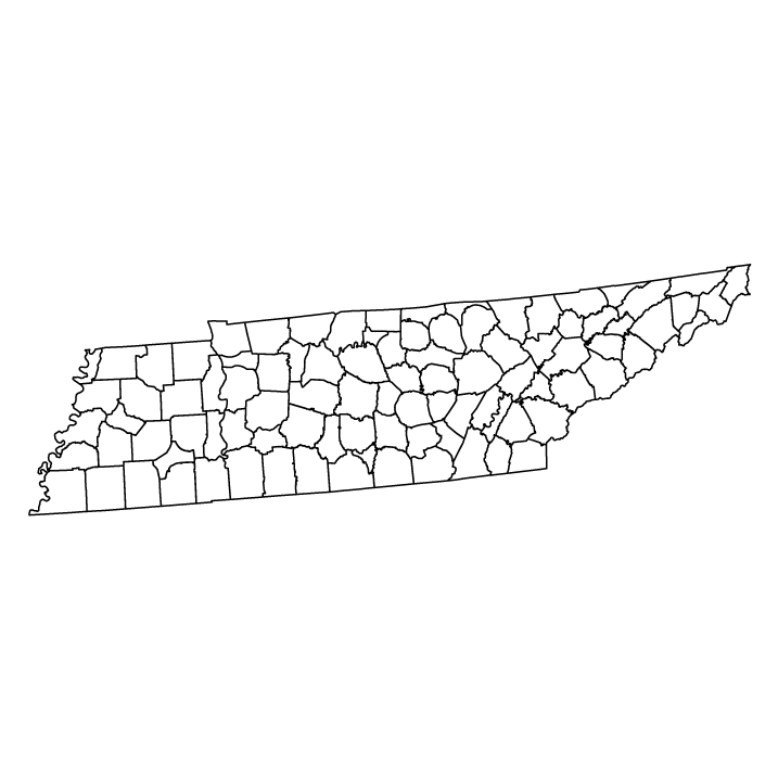 Tennessee outline map showing counties