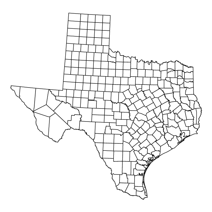 Texas outline map showing counties