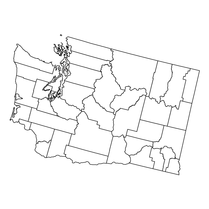 Washington outline map showing counties