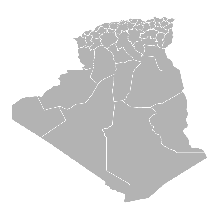 Blank political map of Algeria showing provinces/wilayas