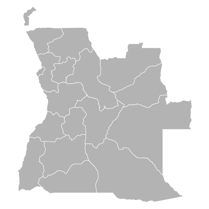 Blank political map of Angola