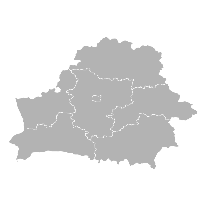 Blank political map of Belarus with Oblasts