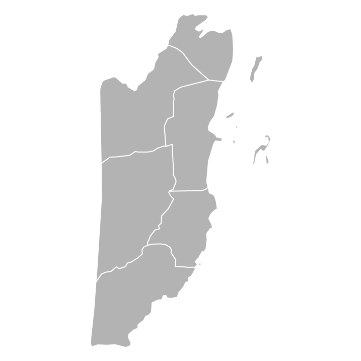 Blank political map of Belize with districts