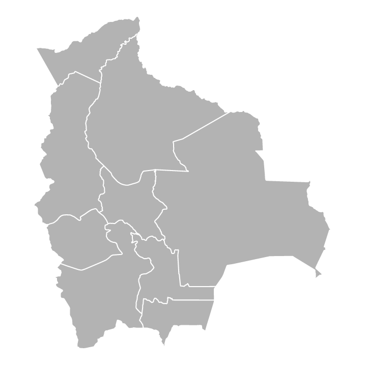 Blank political map of Bolivia with departments