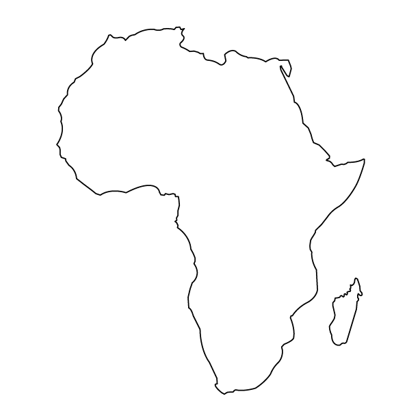 Blank outline map of Africa without countries